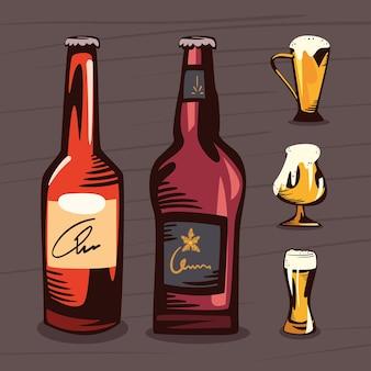 Conjunto de ícones de cervejas e canecas de vidro