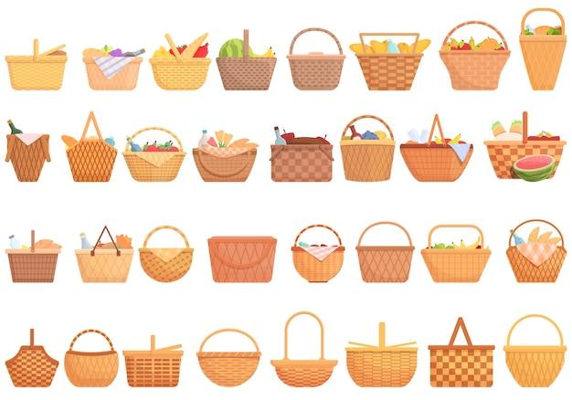 Conjunto de ícones de cesta de piquenique. conjunto de desenhos animados de ícones de vetor de cesta de piquenique para web design