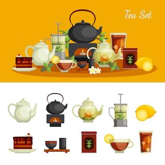 Conjunto de ícones de chá com açúcar de limão