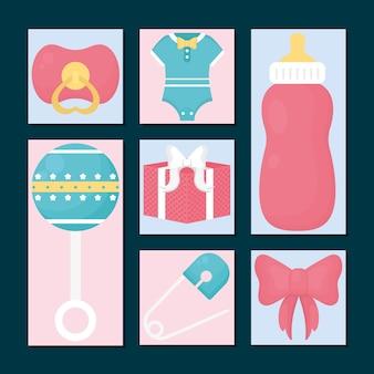 Conjunto de ícones de chá de bebê