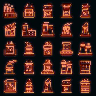 Conjunto de ícones de chaminé. conjunto de contorno de ícones de vetor de chaminé, cor de néon no preto