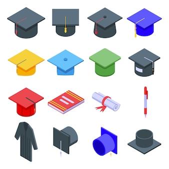 Conjunto de ícones de chapéus de formatura