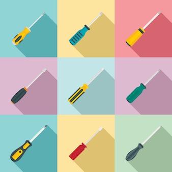 Conjunto de ícones de chave de fenda, estilo simples