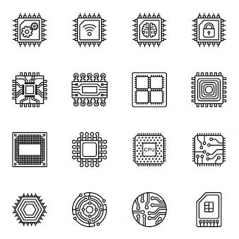 Conjunto de ícones de chips de computador e circuito eletrônico