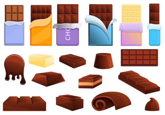 Conjunto de ícones de chocolate. conjunto de desenhos animados de ícones de chocolate para a web