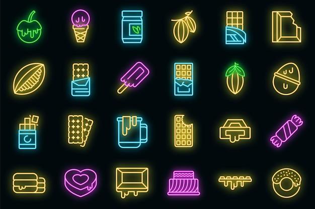 Conjunto de ícones de chocolate. contorno de conjunto de ícones de vetor de chocolate cor néon no preto