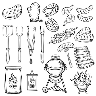 Conjunto de ícones de churrasco de mão desenhada.