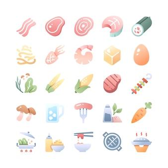 Conjunto de ícones de churrasco e panela quente
