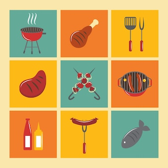 Conjunto de ícones de churrasqueira flat