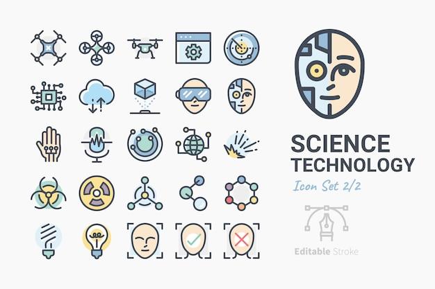 Conjunto de ícones de ciência e tecnologia