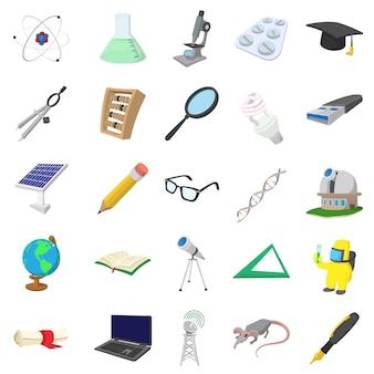 Conjunto de ícones de ciência em estilo cartoon isolado