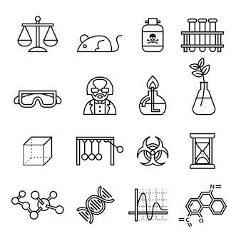 Conjunto de ícones de ciência, laboratório e pesquisa Vetor Premium