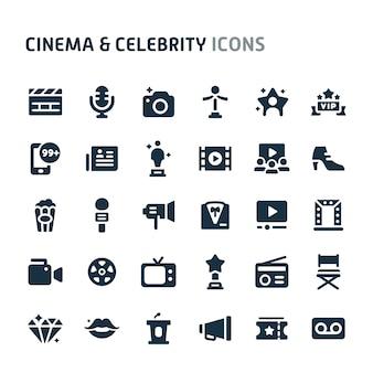Conjunto de ícones de cinema e celebridade. série de ícone preto fillio.