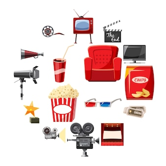 Conjunto de ícones de cinema em estilo cartoon