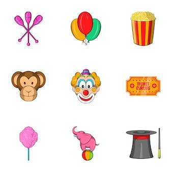 Conjunto de ícones de circo, estilo cartoon