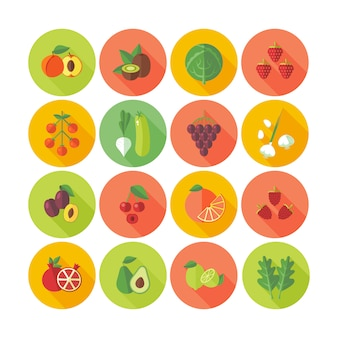Conjunto de ícones de círculo para frutas e legumes.