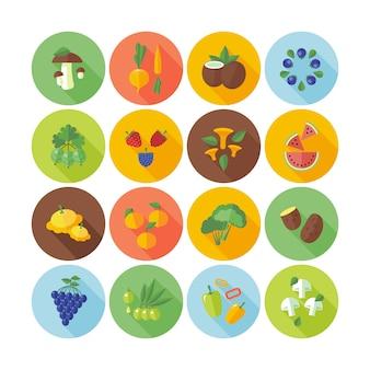 Conjunto de ícones de círculo para frutas, legumes e cogumelos.