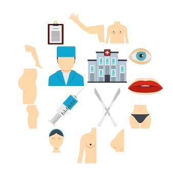 Conjunto de ícones de cirurgião plástico em estilo simples
