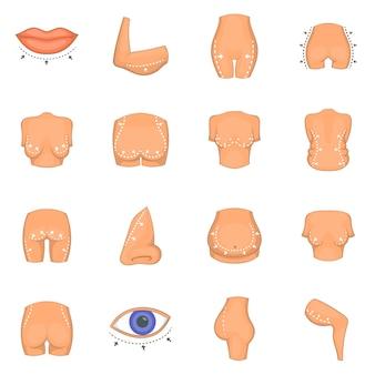 Conjunto de ícones de cirurgião plástico