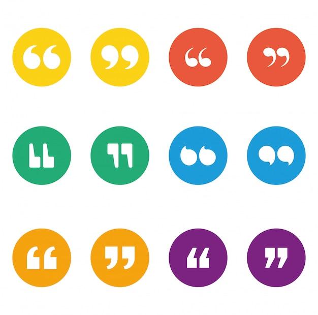 Conjunto de ícones de citações dentro de círculos multicoloridos