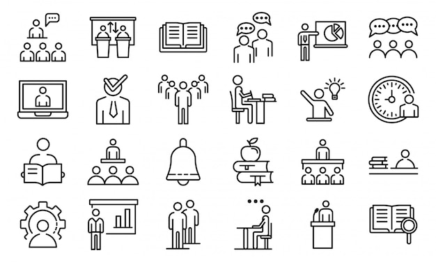Conjunto de ícones de classe de aula, estilo de estrutura de tópicos