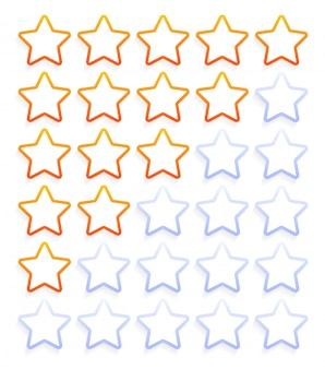 Conjunto de ícones de classificação de cinco estrelas de contorno ilustração em vetor