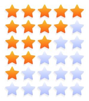 Conjunto de ícones de classificação de cinco estrelas