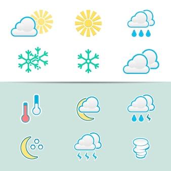 Conjunto de ícones de clima elegantes