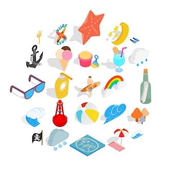 Conjunto de ícones de clima quente. isométrico conjunto de 25 ícones de clima quente
