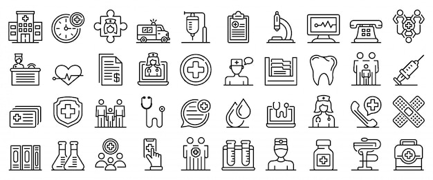 Conjunto de ícones de clínica de saúde familiar, estilo de estrutura de tópicos