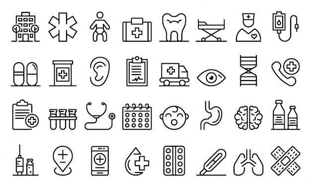 Conjunto de ícones de clínica pediátrica, estilo de estrutura de tópicos