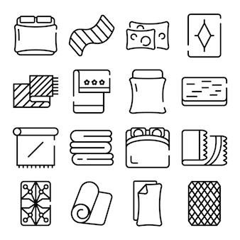 Conjunto de ícones de cobertor, estilo de estrutura de tópicos