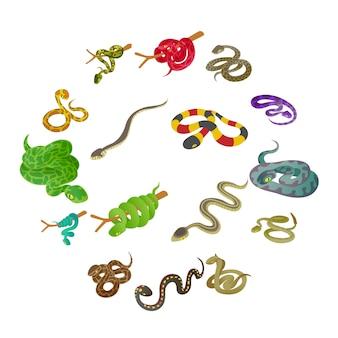 Conjunto de ícones de cobra, estilo isométrico
