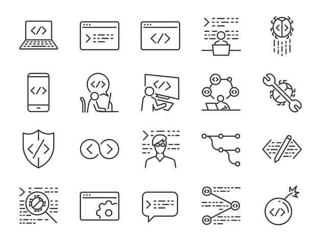 Conjunto de ícones de codificação e desenvolvedor.