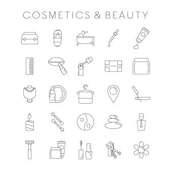 Conjunto de ícones de coesmética e beleza