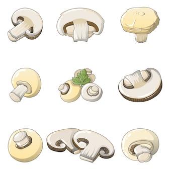 Conjunto de ícones de cogumelo champignon