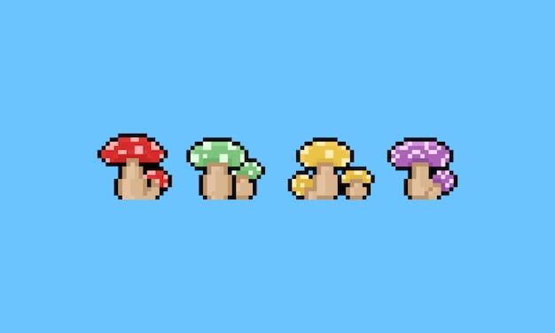 Conjunto de ícones de cogumelo dos desenhos animados de pixel. 8 bits