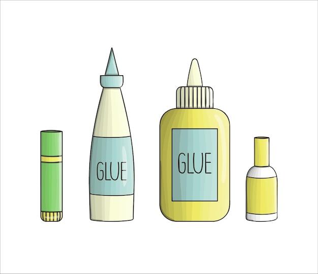 Conjunto de ícones de cola. artigos de papelaria coloridos vetoriais, materiais de escrita, material de escritório ou escolar isolado no fundo branco. estilo cartoon
