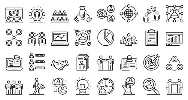 Conjunto de ícones de colaboração, estilo de estrutura de tópicos