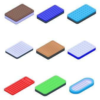 Conjunto de ícones de colchão inflável, estilo isométrico