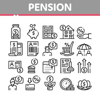 Conjunto de ícones de coleção de aposentadoria de pensão