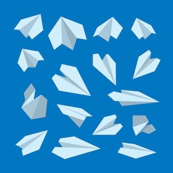 Conjunto de ícones de coleção de avião de origami