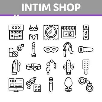 Conjunto de ícones de coleção de brinquedos sexuais da loja intim