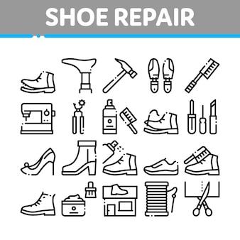 Conjunto de ícones de coleção de equipamentos de reparo de sapato