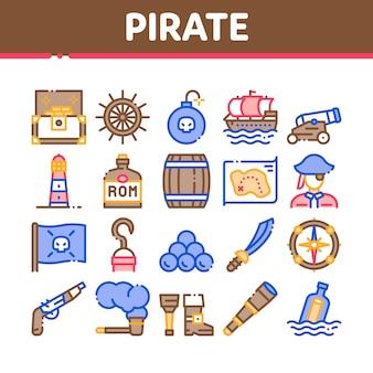 Conjunto de ícones de coleção de ferramentas de bandido do mar pirata