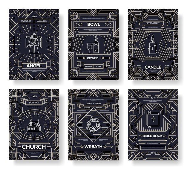 Conjunto de ícones de coleção de linhas finas dedicado a funeral, morte e cemitério.
