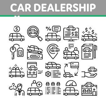 Conjunto de ícones de coleção de loja de concessionária de carros