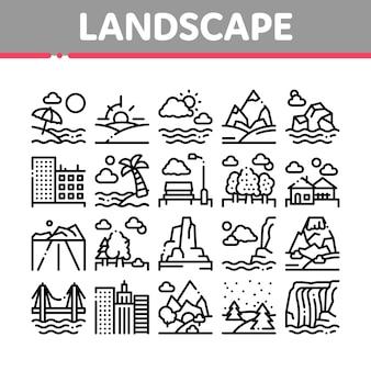 Conjunto de ícones de coleção de lugar de viagens de paisagem