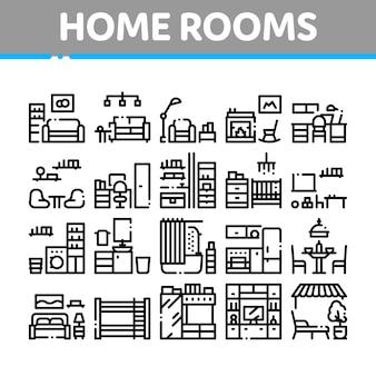 Conjunto de ícones de coleção de móveis de quartos em casa