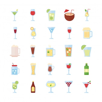 Conjunto de ícones de coleção de pacotes de bebidas